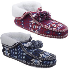 Divaz Lapland Knitted Pull On Womens Knit Pom Booties Flat Slippers Ladies