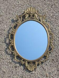 Vintage Mirror Oval Mirror with Frame Baroque Brass Xx Century