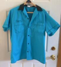 Vintage Men's Bowling Shirt Turquoise Blue Black Hilton Cotton/Poly XL ELMER