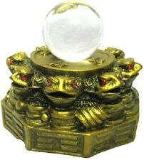 FENG SHUI 8 MONEY FROGS WITH CRYSTAL BALL FOR WEALTH AND LUCK