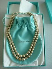TIFFANY sterling silver ~ BALL BEAD NECKLACE DOUBLE STRAND ~ box,pouch BEAUTY!
