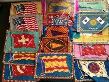 15 Antique Tobacco Cigarette Rugs College Pennent Flags Texas Yale Pennsylvania