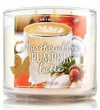 1 Bath & Body Works MARSHMALLOW PUMPKIN LATTE Large Scented 3-Wick Candle 14.5oz