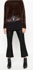 Zara mid-rise faux leather zip detail crop flare pants-sz XS M-NWT