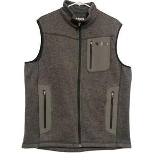 kuiu base camp sweater fleece vest full zip gray Large