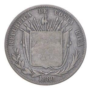 SILVER - WORLD Coin - 1880 Costa Rica 50 Centavos - World Silver Coin *341