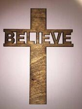 "Believe Cross, Laser cut Birch Wood, Wall Hanging, Ornament, Faith, Church 5"""