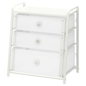 "Brand New IKEA LOTE White 3-Drawer Chest of Drawers 21 5/8x24 3/8 "" 502.937.22"