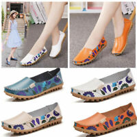 Womens Casual Leather Loafers Driving Moccasins Lazy Peas Shoes Slip On Flats