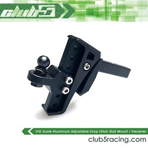 Aluminum Adjustable Drop Hitch Ball Mount / Receiver for 1/10 Scale RC Crawlers