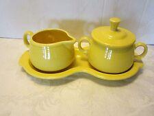Fiesta ware HLC  Yellow Creamer sugar & Tray 4 pc. Mid century Contemporary