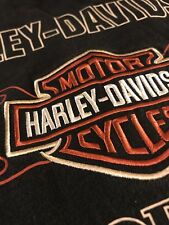 Harley Davidson Motorcycles Mens Black Longsleeve Shirt Sewn Bar And Shield