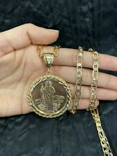 YELLOW GOLD PLATED Rope Mexican Coin Jude Judas Virgin & Figaro Chain
