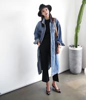 Women's Denim Jeans Buttons Down Over Knee long Coat Jacket Kaftan Top Overcoat