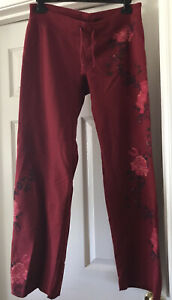 Lucky Brand Suitable For Framing Sweatpants Cascading Floral Red Medium