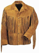 Classic Red Indian Men Brown Suede Western Cowboy Leather Jacket Fringes
