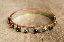 Juicy Couture iridescent bangle bracelet metallic sheen rhinestone punk spikes