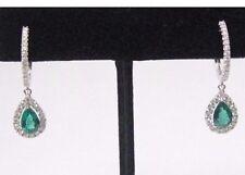 7mm X 5mm Pear Shape Green Emerald & Diamond Hoop Drop Earrings 14k White Gold
