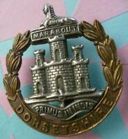 WW1 Dorsetshire Regiment Cap Badge Bi-Metal Slider ANTIQUE Original