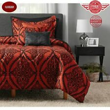 Comforter Set 10 Piece Bed in a Bag Bedding Size Queen Red and Black Damask