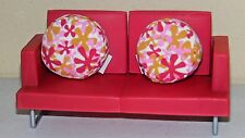 Accessories ~ Barbie Doll Home Decor Sofa Couch Cushion Furniture Red Flowers