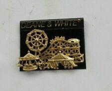 Vintage AJC Signed Amusement Park Brooch Pin Jewelry Roller Coaster Carousel NR