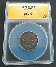 Canada 25 Cents 1872-H, EF 40. ANACS. Silver