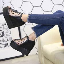 Womens Hidden Wedge Heels Platform Peep Toe Shoes Mesh Rivets Creepers Sandals