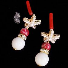1Pair Tibetan Gold Pave Crystal White Jade Ball Pendant Bead Earrings D89948
