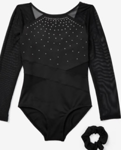 NWT Justice Girls Gem Accent  Long Sleeved Leotard Size 6 7 8 10 12