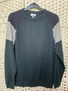Next Mens Pullover Jumper Thin Knit in Green Blue and Grey Size M Supersoft Top