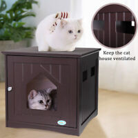 Cat Litter Box Cat House Hidden End Table Nightstand Cat Washroom Brown Indoor