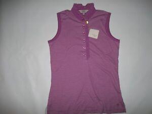 CLOVER BOBBY JONES GOLF Peony Ruffle Sleeveless POLO Shirt TOP Womens SMALL NEW