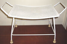 Vintage White Enamel Vented Steel Stool / Garden Bench