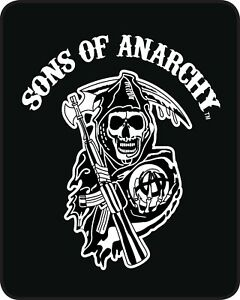 Queen SOA Sons Of Anarchy Reaper White Mink Faux Fur Blanket Warm So Soft Full