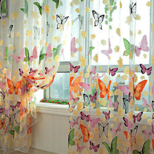 1/2 Panels Butterfly Sheer Voile Window Curtains Tulle Screening Drapes Yarn