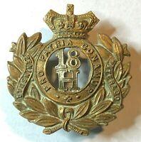 VICTORIAN 18th Hussars (Queen Mary's Own) Regiment Cap Badge original