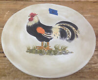 Calderone Tabletops Unlimited Pottery Handpainted Dinner Plate Rooster #C Black