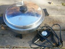 "SALADMASTER 7817 Stainless Steel 11"" Electric Skillet Vapo Lid Pan Used"