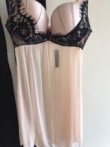 Ann Summers Katya Babydoll Nightdress Size Small (8-10) B-C Cup Pick/Black