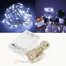 10M Pure White Battery Powered 100LEDs Copper Wire Xmas Party String Fairy Light