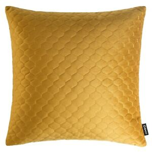Quilted Velvet Cushion Mustard Yellow Decorative Pillow Case Sofa Cover UK 43cm