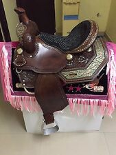 "Western Brown Barrel Racer With Stones and Inlay Patch 16"" Saddle"