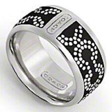NWT Coach 95144 OP Art Dot Ring Silver Black Size 7