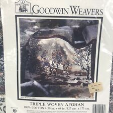 Goodwin Weavers Halloween Themed Triple Woven Afghan New