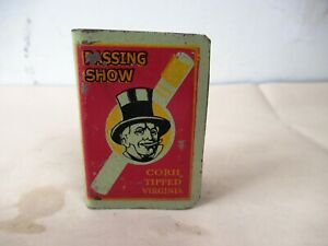 Antique Passing Show Cigarettes Advertising Match Box Cover Tin Match Holder F