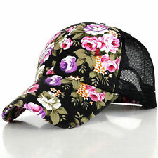 82750b8cbf9 Women Baseball Snapback Cap Tropical Mesh Trucker Floral Flat Adjustable  Sun Hat