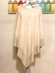 Beautiful Silver Stud Embellished Hem Poncho Beige Super Soft One Size