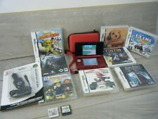 METALLIC RED NINTENDO 3DS BUNDLE CONSOLE USB CHARGING LEAD CARRY CASE+10 GAMES