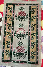Vintage Tea Towel of Pineapples in Green, Red, Gold, on a Tan Background